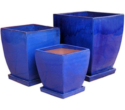 Primo Glazed Curved Milan Pot Blue