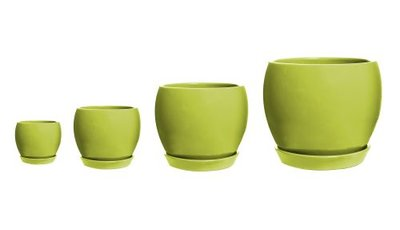 Decorative Ball Pot with Saucer - Lime