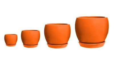 Decorative Ball Pot with Saucer - Orange