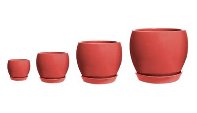 Decorative Ball Pot with Saucer - Red