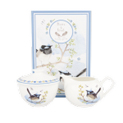 Ashdene Plume & Perch Blue Wren Collection Sugar Bowl & Creamer Set